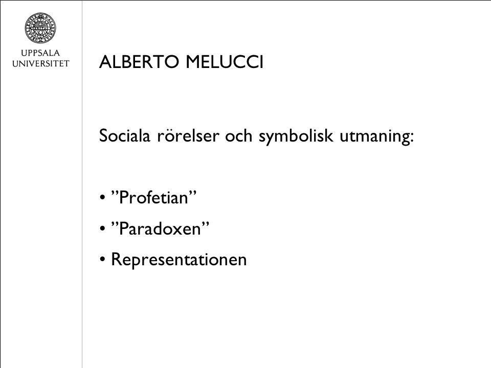 ALBERTO MELUCCI Sociala rörelser och symbolisk utmaning: Profetian Paradoxen Representationen