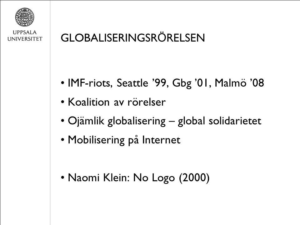 GLOBALISERINGSR Ö RELSEN IMF-riots, Seattle '99, Gbg '01, Malmö '08 Koalition av rörelser Ojämlik globalisering – global solidarietet Mobilisering på Internet Naomi Klein: No Logo (2000)