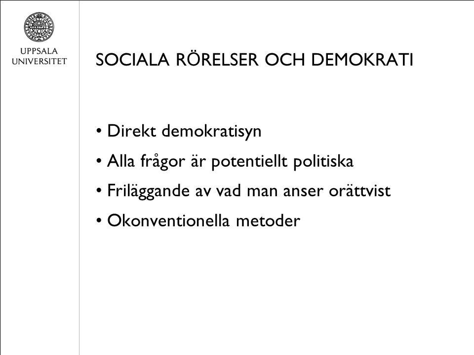 SOCIALA R Ö RELSER OCH DEMOKRATI Direkt demokratisyn Alla frågor är potentiellt politiska Friläggande av vad man anser orättvist Okonventionella metoder