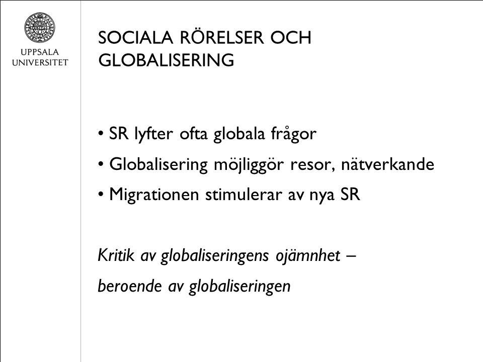 SOCIALA R Ö RELSER OCH GLOBALISERING SR lyfter ofta globala frågor Globalisering möjliggör resor, nätverkande Migrationen stimulerar av nya SR Kritik av globaliseringens ojämnhet – beroende av globaliseringen