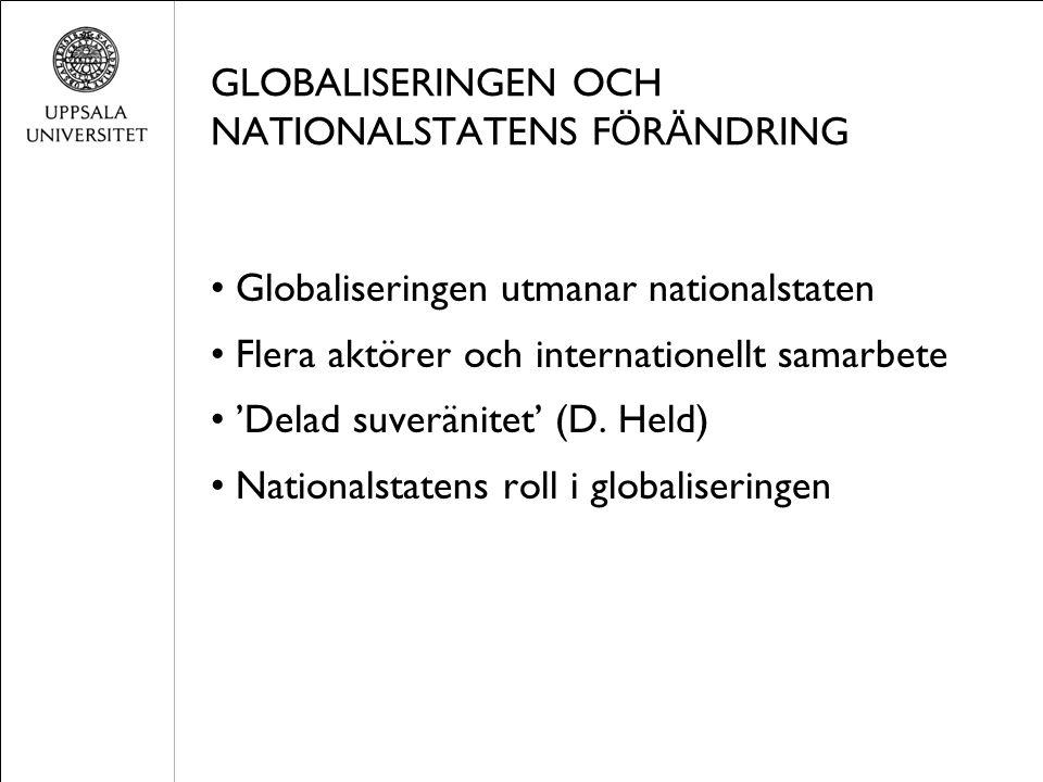 GLOBALISERINGEN OCH NATIONALSTATENS F Ö R Ä NDRING Globaliseringen utmanar nationalstaten Flera aktörer och internationellt samarbete 'Delad suveränitet' (D.