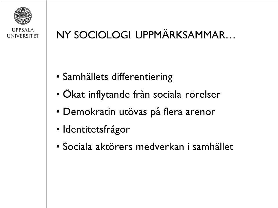 NY SOCIOLOGI UPPM Ä RKSAMMAR … Samhällets differentiering Ökat inflytande från sociala rörelser Demokratin utövas på flera arenor Identitetsfrågor Sociala aktörers medverkan i samhället