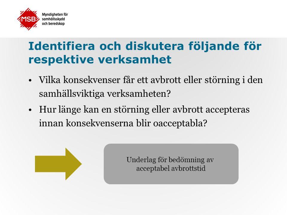 Identifiera och diskutera följande för respektive verksamhet Vilka konsekvenser får ett avbrott eller störning i den samhällsviktiga verksamheten.