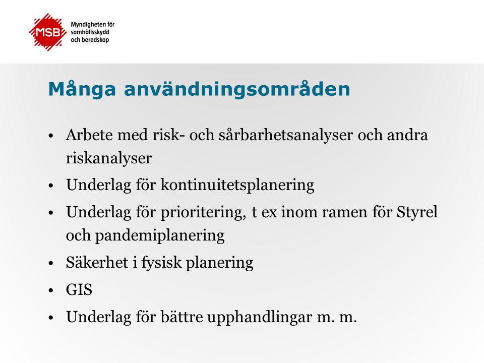 Många användningsområden Arbete med risk- och sårbarhetsanalyser och andra riskanalyser Underlag för kontinuitetsplanering Underlag för prioritering, t ex inom ramen för Styrel och pandemiplanering Säkerhet i fysisk planering GIS Underlag för bättre upphandlingar m.