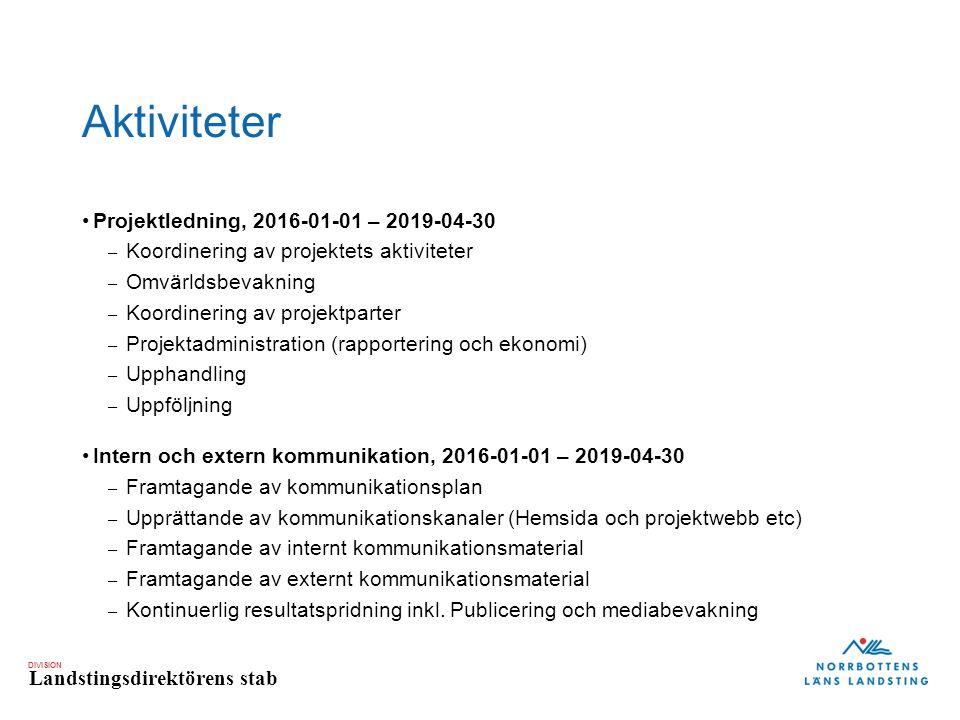 DIVISION Landstingsdirektörens stab Aktiviteter Projektledning, 2016-01-01 – 2019-04-30 – Koordinering av projektets aktiviteter – Omvärldsbevakning – Koordinering av projektparter – Projektadministration (rapportering och ekonomi) – Upphandling – Uppföljning Intern och extern kommunikation, 2016-01-01 – 2019-04-30 – Framtagande av kommunikationsplan – Upprättande av kommunikationskanaler (Hemsida och projektwebb etc) – Framtagande av internt kommunikationsmaterial – Framtagande av externt kommunikationsmaterial – Kontinuerlig resultatspridning inkl.