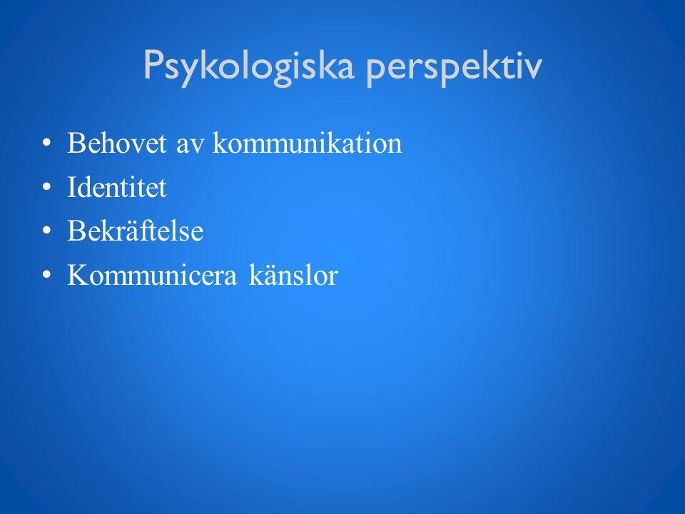 Psykologiska perspektiv Behovet av kommunikation Identitet Bekräftelse Kommunicera känslor