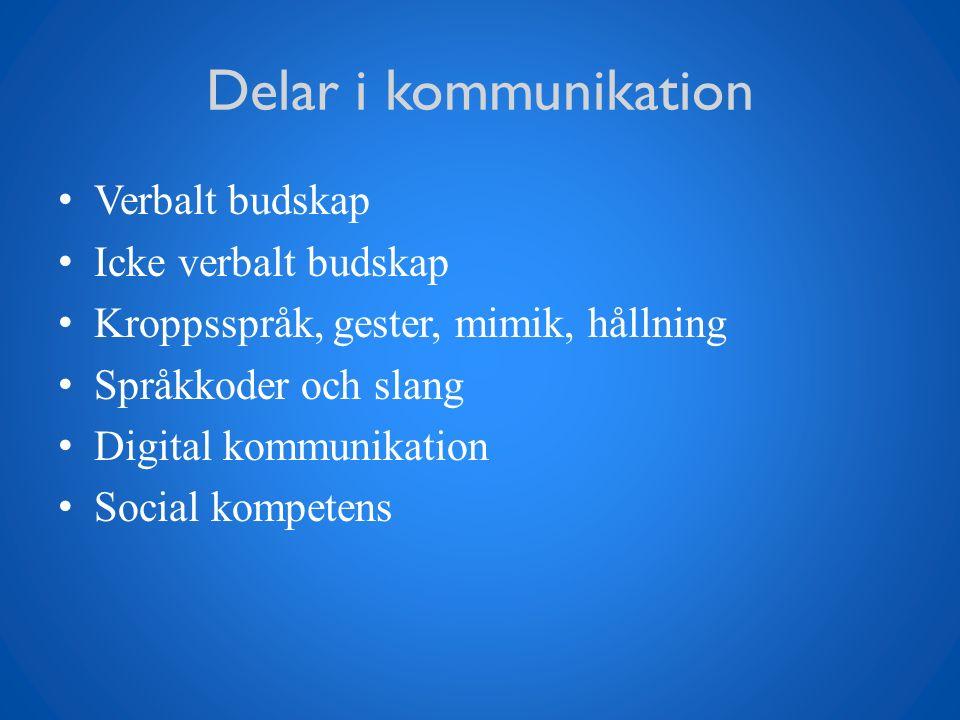 Delar i kommunikation Verbalt budskap Icke verbalt budskap Kroppsspråk, gester, mimik, hållning Språkkoder och slang Digital kommunikation Social komp