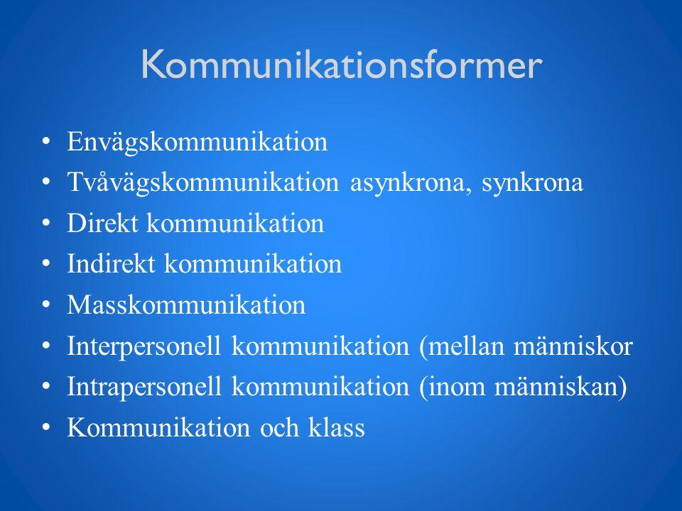 Kommunikationsformer Envägskommunikation Tvåvägskommunikation asynkrona, synkrona Direkt kommunikation Indirekt kommunikation Masskommunikation Interp