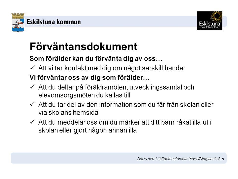 Barn- och Utbildningsförvaltningen/Slagstaskolan Vilka kommunikationsforum eller situationer förekommer i skolan.