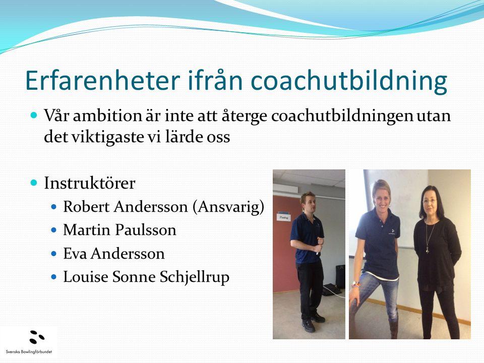 Erfarenheter ifrån coachutbildning Vår ambition är inte att återge coachutbildningen utan det viktigaste vi lärde oss Instruktörer Robert Andersson (A