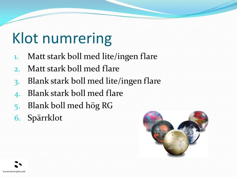 Klot numrering 1. Matt stark boll med lite/ingen flare 2.