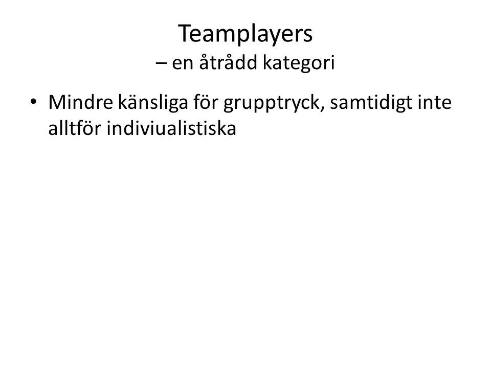 Teamplayers – en åtrådd kategori Mindre känsliga för grupptryck, samtidigt inte alltför indiviualistiska