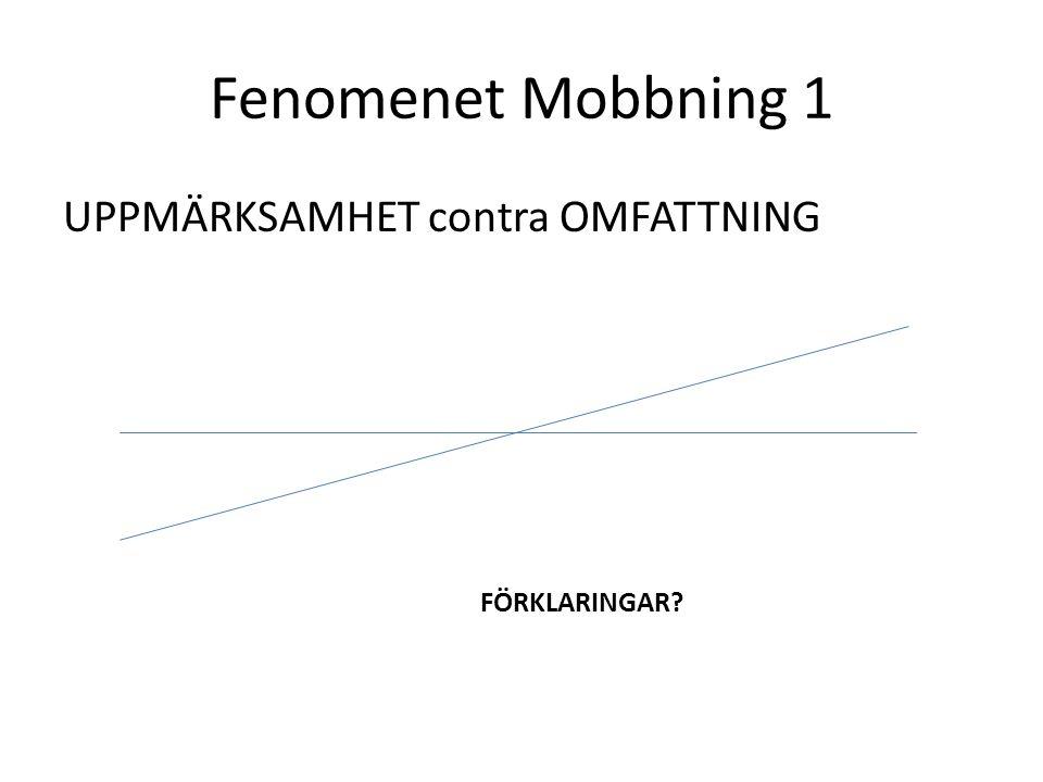 Fenomenet Mobbning 1 UPPMÄRKSAMHET contra OMFATTNING FÖRKLARINGAR?