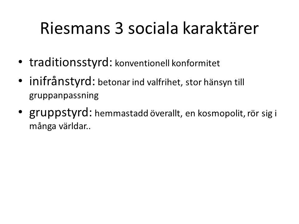 Riesmans 3 sociala karaktärer traditionsstyrd: konventionell konformitet inifrånstyrd: betonar ind valfrihet, stor hänsyn till gruppanpassning gruppst