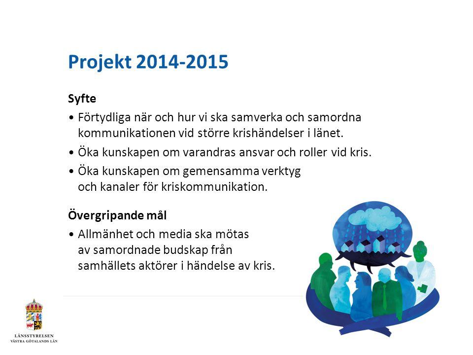 Projekt 2014-2015 Syfte Förtydliga när och hur vi ska samverka och samordna kommunikationen vid större krishändelser i länet.