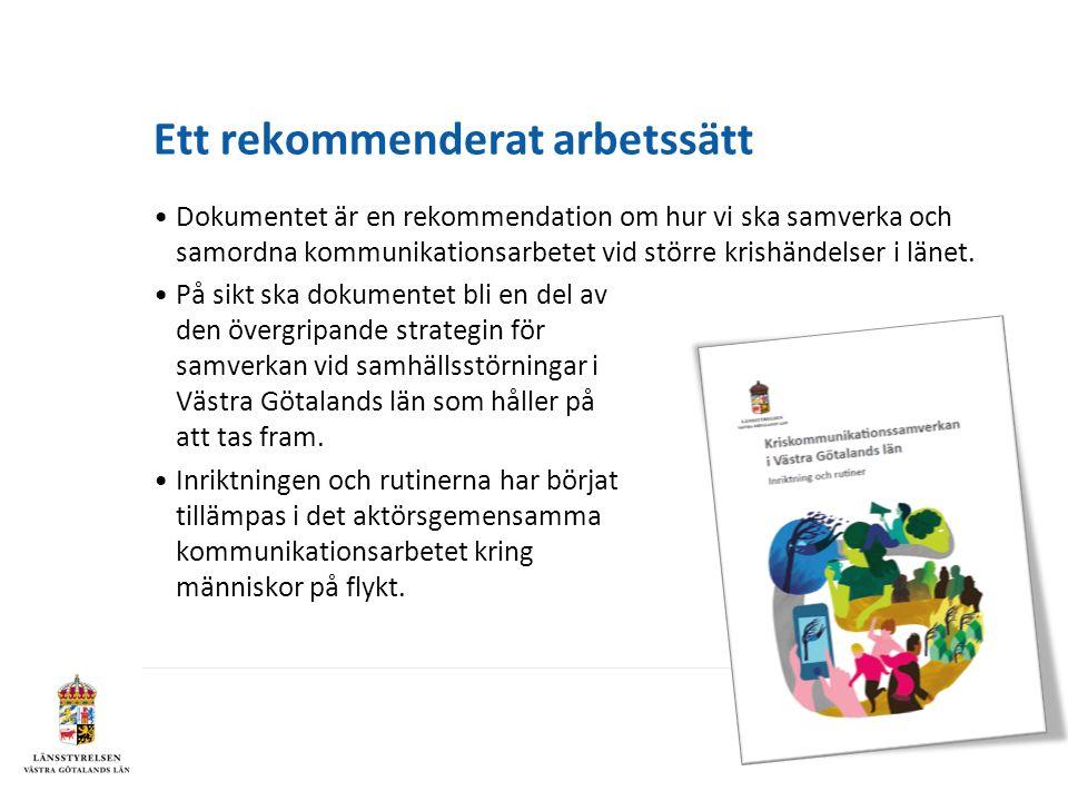 Ett rekommenderat arbetssätt Dokumentet är en rekommendation om hur vi ska samverka och samordna kommunikationsarbetet vid större krishändelser i länet.