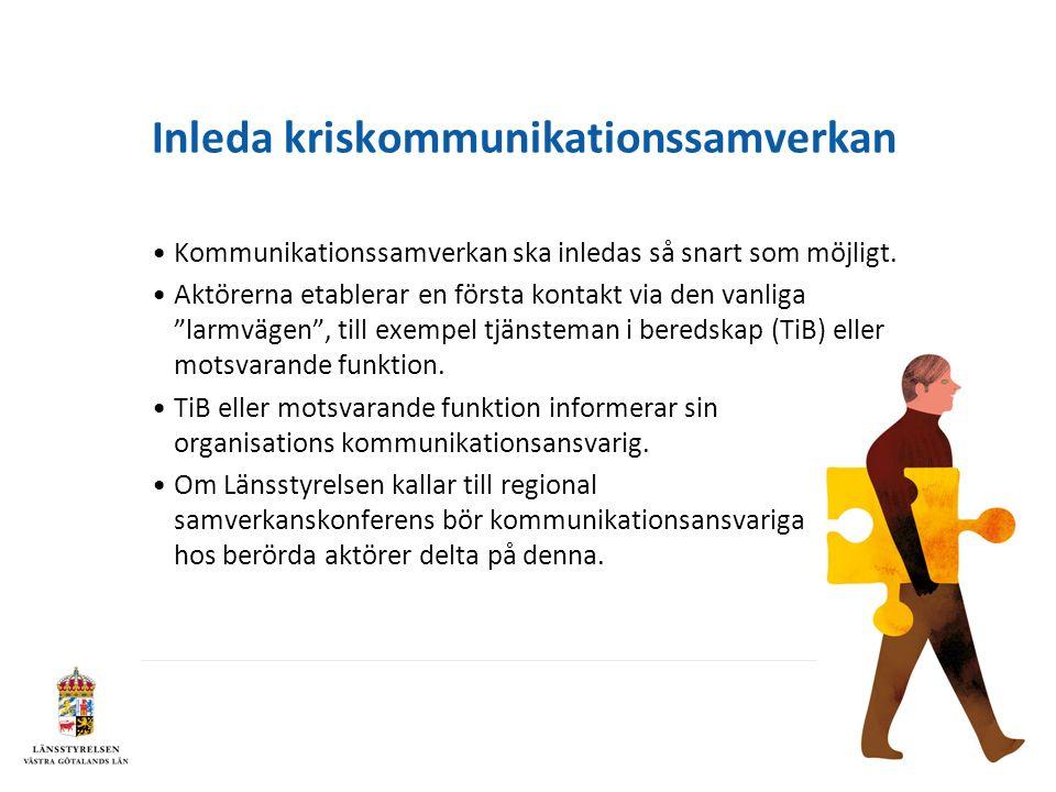 Inleda kriskommunikationssamverkan Kommunikationssamverkan ska inledas så snart som möjligt.