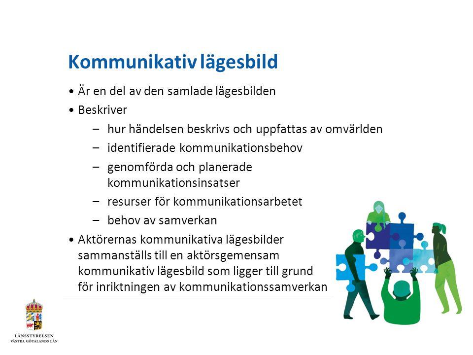 Kommunikativ lägesbild Är en del av den samlade lägesbilden Beskriver –hur händelsen beskrivs och uppfattas av omvärlden –identifierade kommunikationsbehov –genomförda och planerade kommunikationsinsatser –resurser för kommunikationsarbetet –behov av samverkan Aktörernas kommunikativa lägesbilder sammanställs till en aktörsgemensam kommunikativ lägesbild som ligger till grund för inriktningen av kommunikationssamverkan