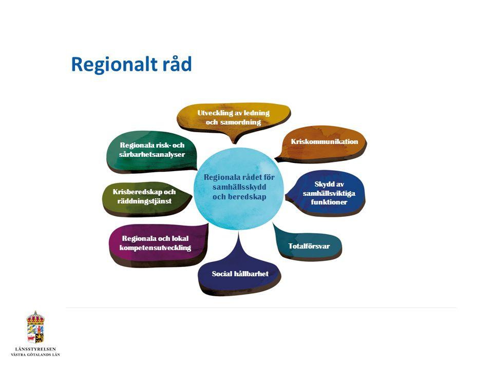 Regionalt råd Regionala rådet för samhällsskydd och beredskap Utveckling av ledning och samordning Kriskommunikation Skydd av samhällsviktiga funktioner Regionala risk- och sårbarhetsanalyser Krisberedskap och räddningstjänst Regionala och lokal kompetensutveckling Social hållbarhet Totalförsvar