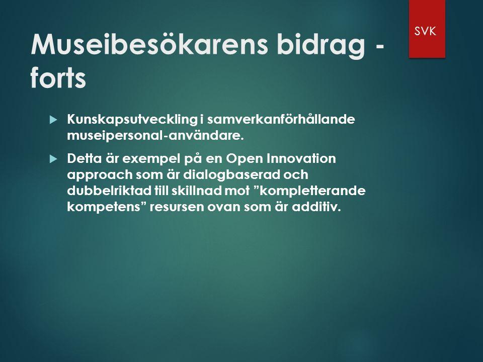 Museibesökarens bidrag - forts  Kunskapsutveckling i samverkanförhållande museipersonal-användare.