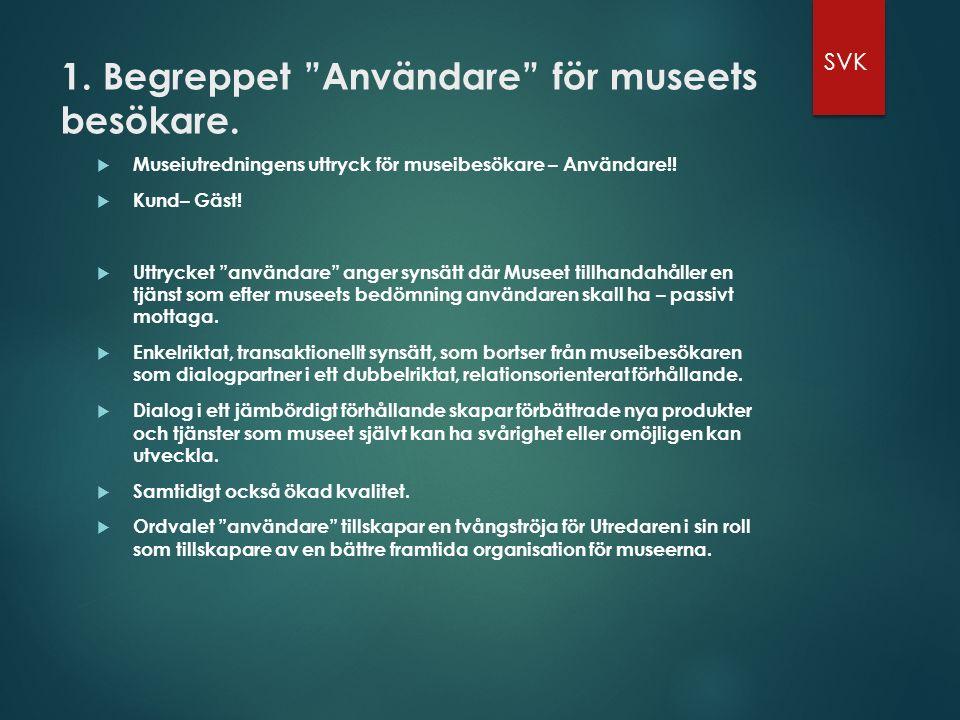 1. Begreppet Användare för museets besökare.