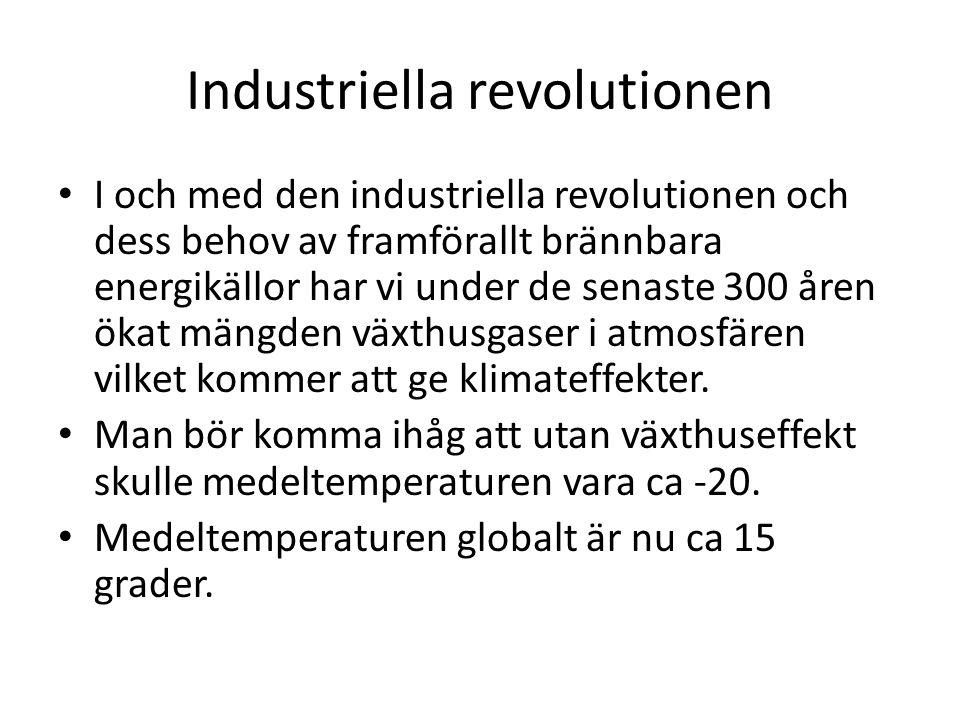 Industriella revolutionen I och med den industriella revolutionen och dess behov av framförallt brännbara energikällor har vi under de senaste 300 åren ökat mängden växthusgaser i atmosfären vilket kommer att ge klimateffekter.