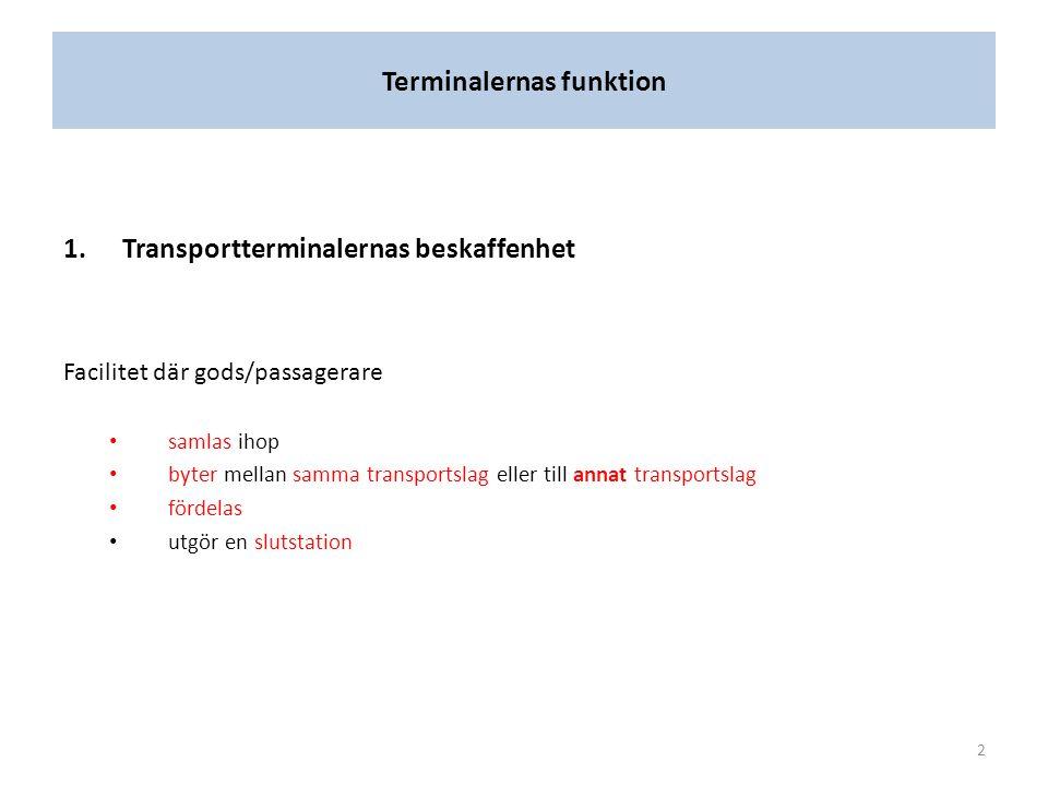 Terminalernas funktion 1.Transportterminalernas beskaffenhet Facilitet där gods/passagerare samlas ihop byter mellan samma transportslag eller till annat transportslag fördelas utgör en slutstation 2