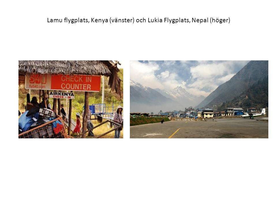 Lamu flygplats, Kenya (vänster) och Lukia Flygplats, Nepal (höger)