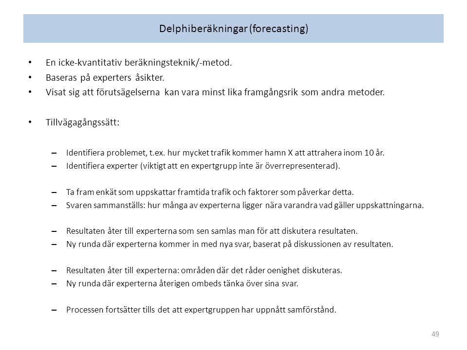 Delphiberäkningar (forecasting) En icke-kvantitativ beräkningsteknik/-metod.