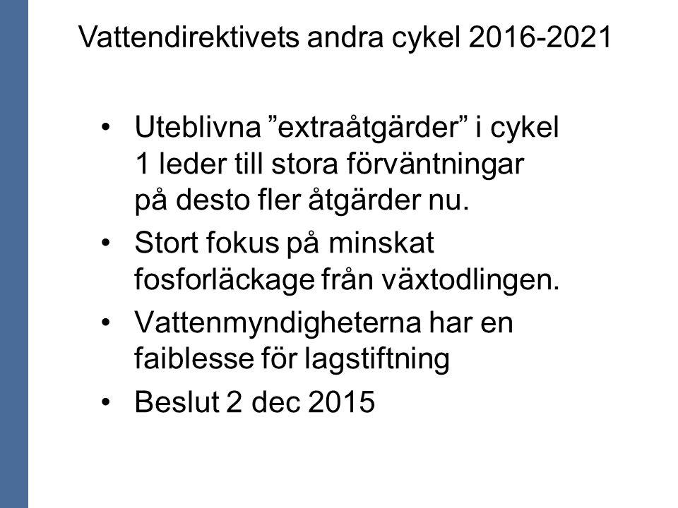 """Vattendirektivets andra cykel 2016-2021 Uteblivna """"extraåtgärder"""" i cykel 1 leder till stora förväntningar på desto fler åtgärder nu. Stort fokus på m"""