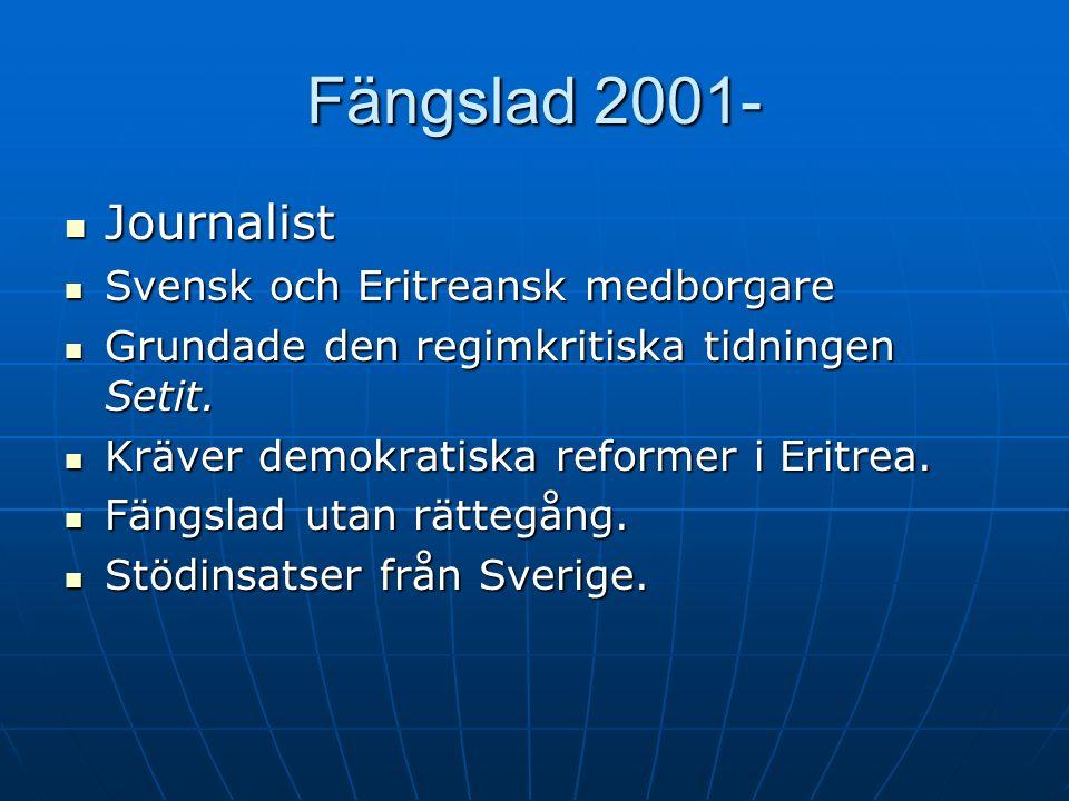Fängslad 2001- Journalist Journalist Svensk och Eritreansk medborgare Svensk och Eritreansk medborgare Grundade den regimkritiska tidningen Setit. Gru