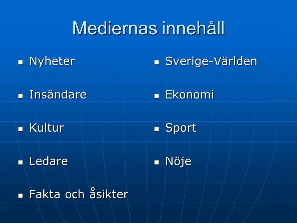 Mediernas innehåll Nyheter Nyheter Insändare Insändare Kultur Kultur Ledare Ledare Fakta och åsikter Fakta och åsikter Sverige-Världen Sverige-Världen