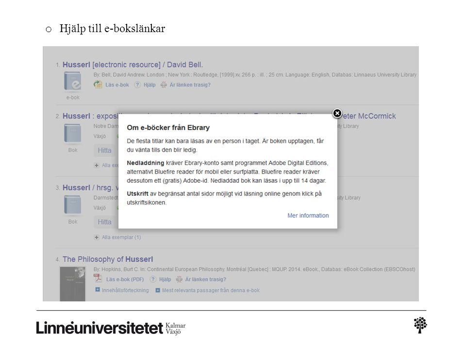 o Hjälp till e-bokslänkar