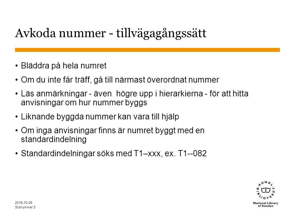 Sidnummer 2015-10-26 4 439.75 439.7Svenska 5 Grammatik (från tabell 4 enligt anvisning under 420-490) 439.75 Svensk grammatik ÄO: Svenska språket -- grammatik