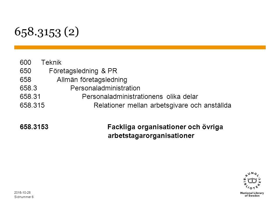 Sidnummer 2015-10-26 6 658.3153 (2) 600 Teknik 650 Företagsledning & PR 658 Allmän företagsledning 658.3 Personaladministration 658.31 Personaladministrationens olika delar 658.315 Relationer mellan arbetsgivare och anställda 658.3153 Fackliga organisationer och övriga arbetstagarorganisationer