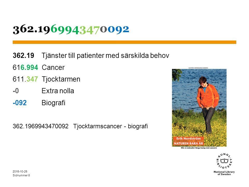 Sidnummer 362.1969943470092 362.19 Tjänster till patienter med särskilda behov 616.994 Cancer 611.347 Tjocktarmen -0 Extra nolla -092 Biografi 362.1969943470092 Tjocktarmscancer - biografi 2015-10-26 8