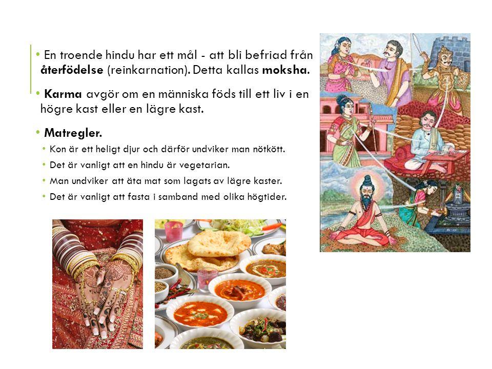 En troende hindu har ett mål - att bli befriad från återfödelse (reinkarnation). Detta kallas moksha. Karma avgör om en människa föds till ett liv i e