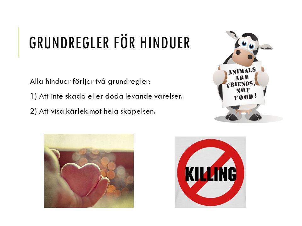 GRUNDREGLER FÖR HINDUER Alla hinduer förljer två grundregler: 1) Att inte skada eller döda levande varelser. 2) Att visa kärlek mot hela skapelsen.
