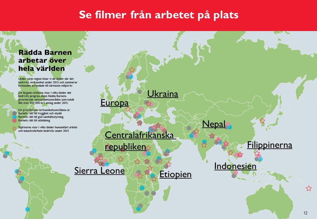 Se filmer från arbetet på plats 12 Europa Ukraina Etiopien Indonesien Nepal Filippinerna Sierra Leone Centralafrikanska republiken