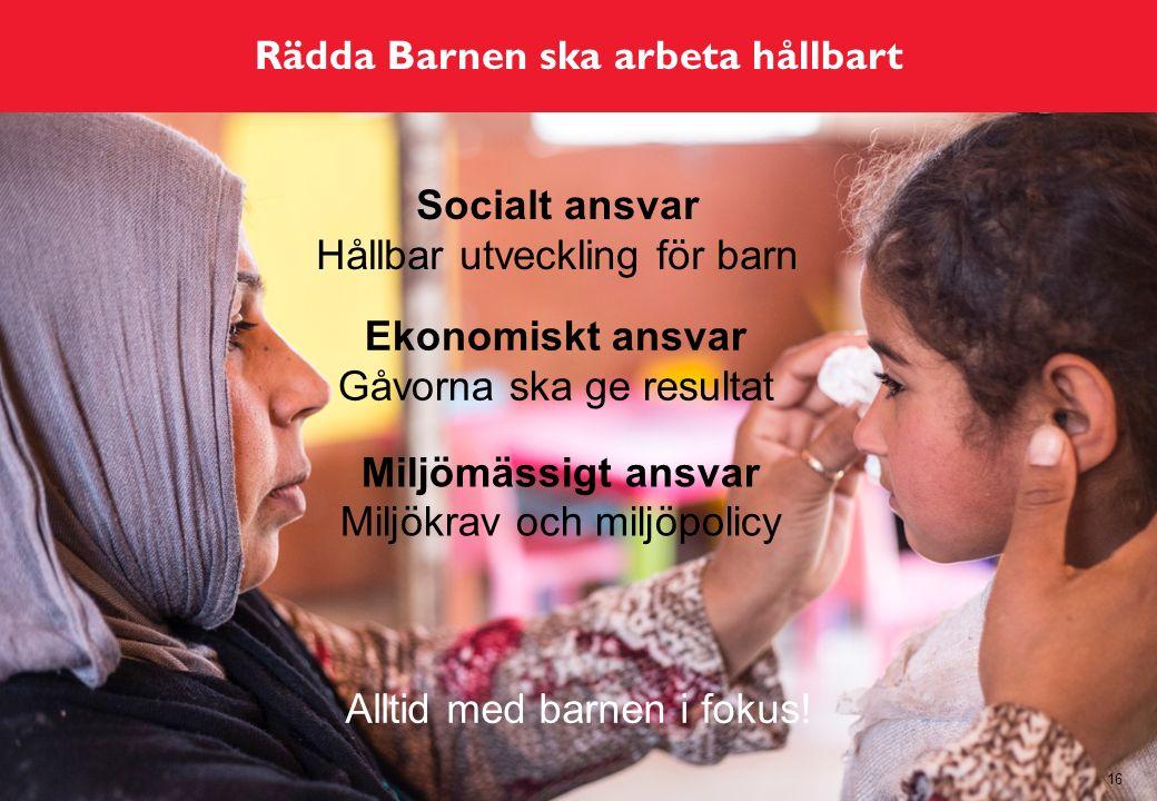 Rädda Barnen ska arbeta hållbart 16 Socialt ansvar Hållbar utveckling för barn Alltid med barnen i fokus.