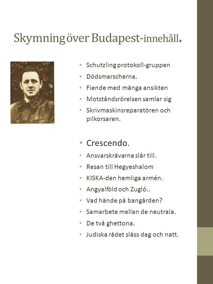 Skymning över Budapest- innehåll. Schutzling protokoll-gruppen Dödsmarscherna.