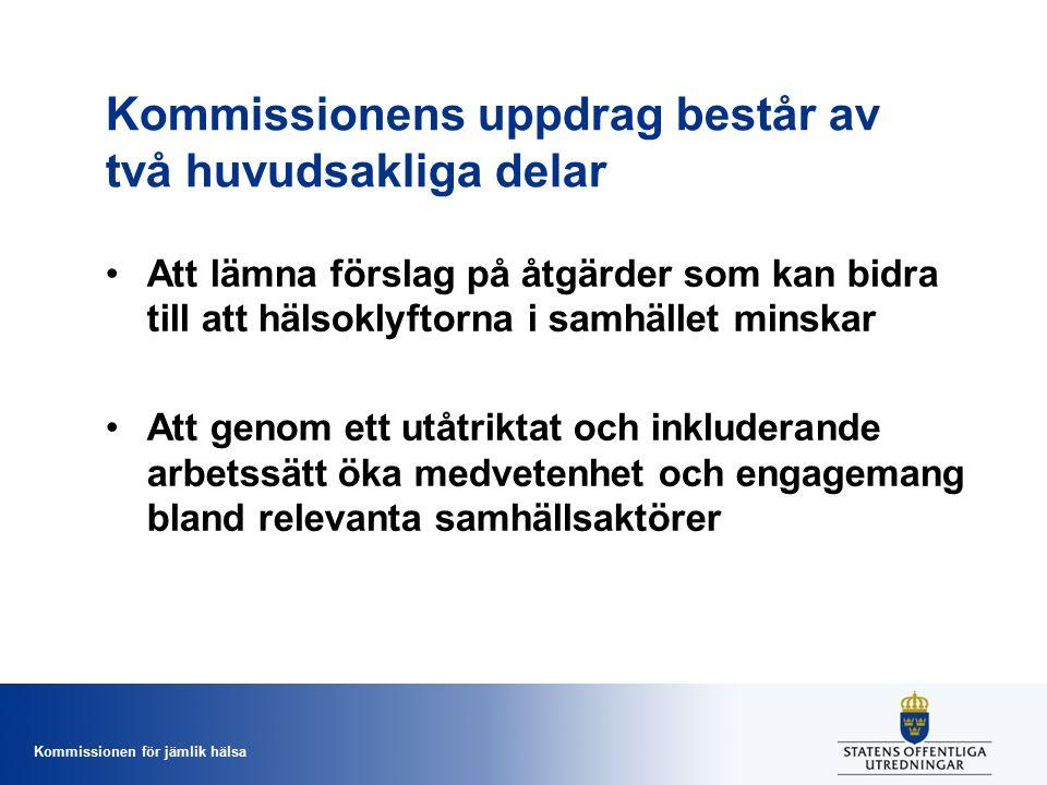 Kommissionen för jämlik hälsa Kommissionens uppdrag består av två huvudsakliga delar Att lämna förslag på åtgärder som kan bidra till att hälsoklyftorna i samhället minskar Att genom ett utåtriktat och inkluderande arbetssätt öka medvetenhet och engagemang bland relevanta samhällsaktörer