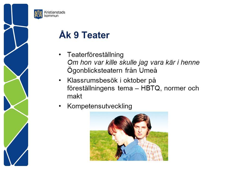 Åk 9 Teater Teaterföreställning Om hon var kille skulle jag vara kär i henne Ögonblicksteatern från Umeå Klassrumsbesök i oktober på föreställningens tema – HBTQ, normer och makt Kompetensutveckling