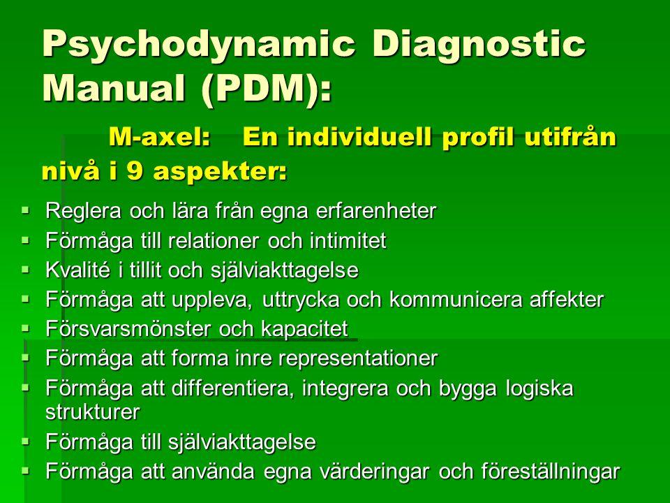 Psychodynamic Diagnostic Manual (PDM): M-axel:En individuell profil utifrån nivå i 9 aspekter:  Reglera och lära från egna erfarenheter  Förmåga till relationer och intimitet  Kvalité i tillit och själviakttagelse  Förmåga att uppleva, uttrycka och kommunicera affekter  Försvarsmönster och kapacitet  Förmåga att forma inre representationer  Förmåga att differentiera, integrera och bygga logiska strukturer  Förmåga till själviakttagelse  Förmåga att använda egna värderingar och föreställningar