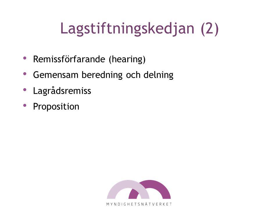 Lagstiftningskedjan (2) Remissförfarande (hearing) Gemensam beredning och delning Lagrådsremiss Proposition