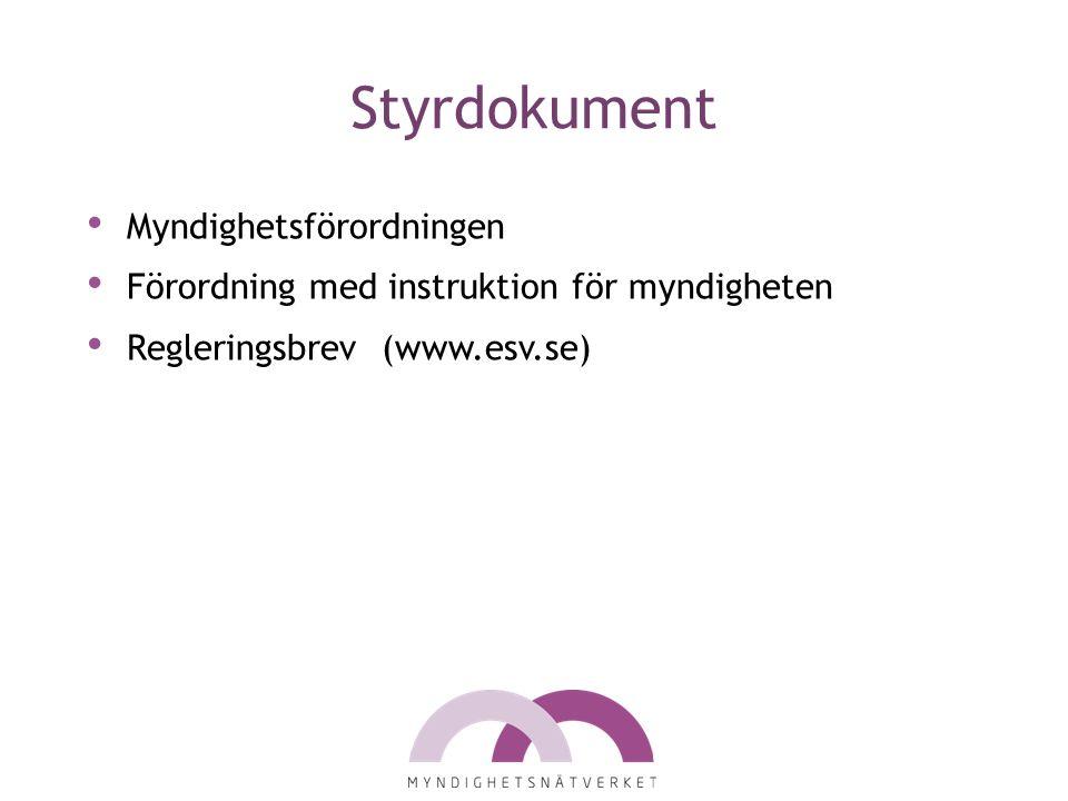 Styrdokument Myndighetsförordningen Förordning med instruktion för myndigheten Regleringsbrev (www.esv.se)