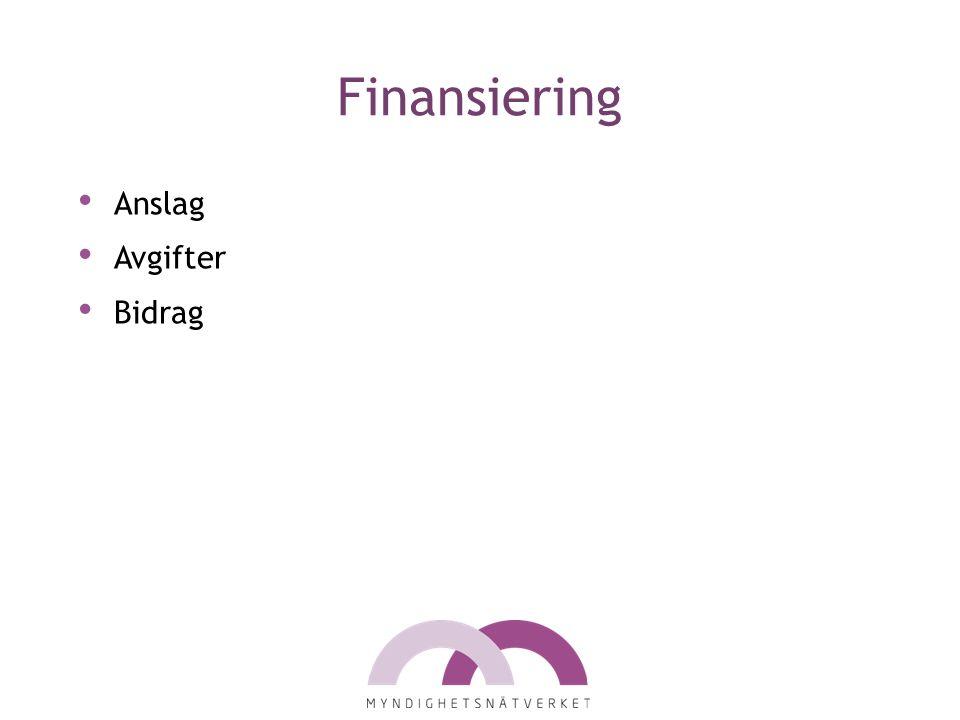Finansiering Anslag Avgifter Bidrag