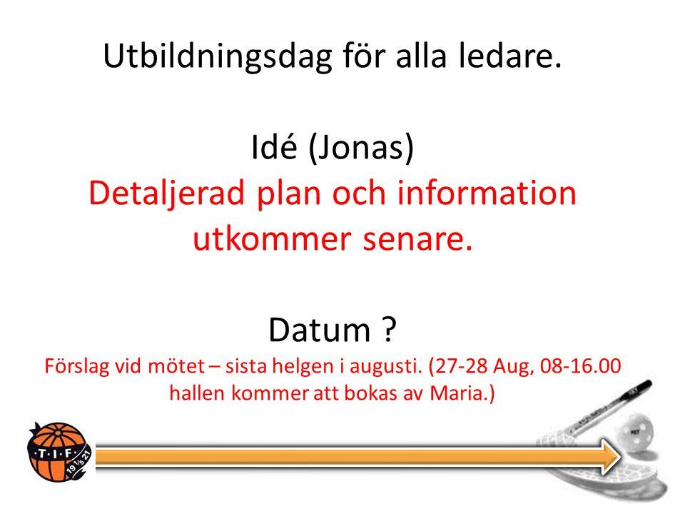 Utbildningsdag för alla ledare.Idé (Jonas) Detaljerad plan och information utkommer senare.