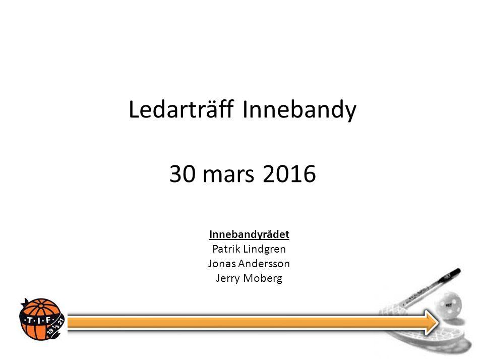 Ledarträff Innebandy 30 mars 2016 Innebandyrådet Patrik Lindgren Jonas Andersson Jerry Moberg