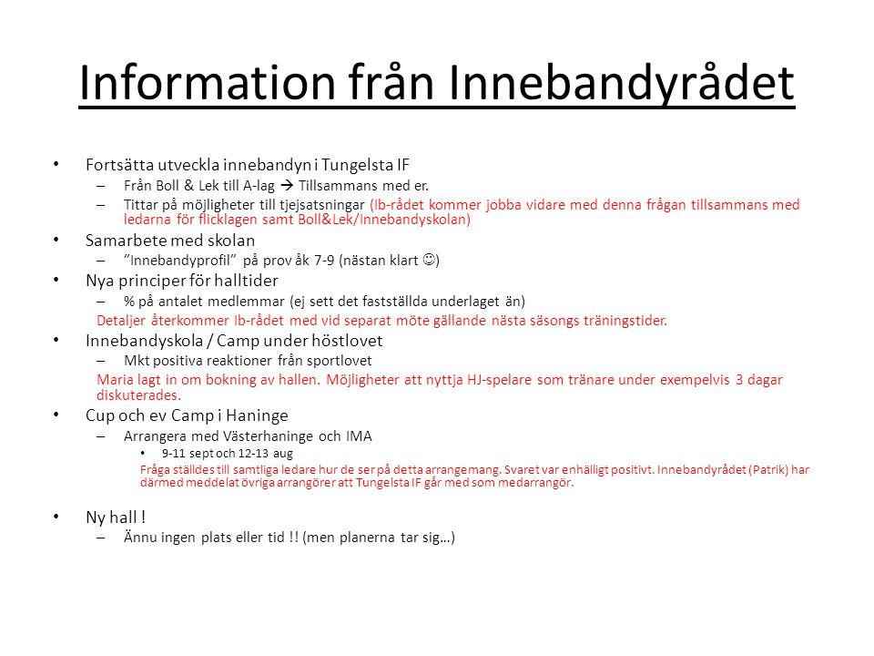 Information från Innebandyrådet Fortsätta utveckla innebandyn i Tungelsta IF – Från Boll & Lek till A-lag  Tillsammans med er.